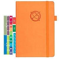"Arcobis Undated Weekly Planner Agenda 2020-52 Weeks & 12 Months, 50 Notes, Yearly Goals - with Pen Holder, Hardcover, Thicker Paper, Stickers, Inner Pocket, Bound, Gift Box, 5.8""x 8.5"" - Orange"