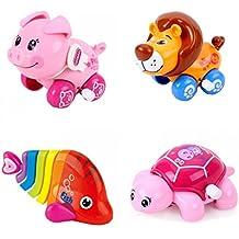 GINOVO® 4pcs Juguete Mecánico , Wind Up Juguete , Animal encantador, Multicolor, para el bebé, niño y niño (cerdo+leon+pez+tortuga)