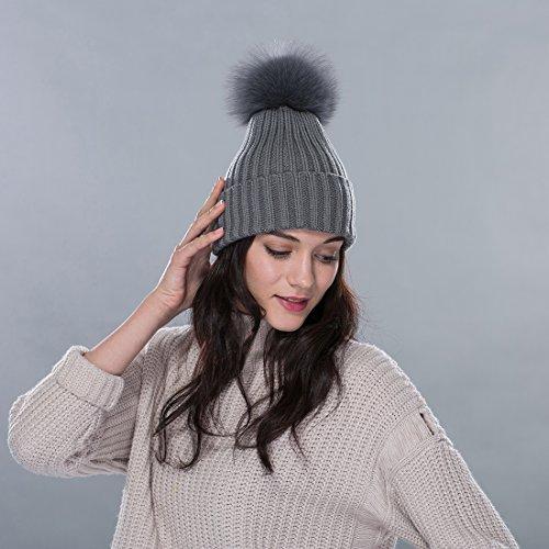 URSFUR Bonnet/Chapeau Tricot Pompon Fourrure De Renard Femme Hiver Gris