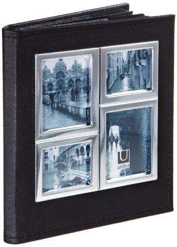 Umbra 308482-152 Horizon Metall und Lederimitat Fotoalbum für 104 Fotos 10 x 15 cm chrom / schwarz - Umbra-foto-album
