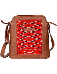 Kalamargam Collective Naga Weave & Vegan Leather Sling Bag (Multi-Coloured, KC-SB70)