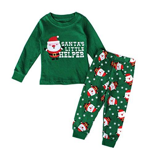 Pettigirl Unisex Weihnachten Pyjamas Grün Kleidung Santa Cartoon -