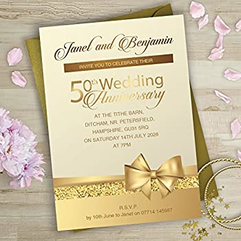 Golden wedding anniversary invitations amazon kitchen home golden wedding anniversary invitations bow and glitter design g9p personalised with free gold envelopes please email wording before ordering see stopboris Choice Image