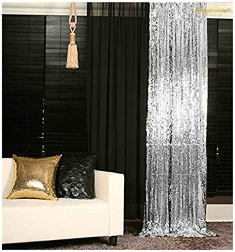 Pailletten Hintergrund Silber 2x7ft, Pailletten-Vorhang für Fenster Decration ()