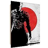 Feeby. Wandbilder - 1 Teilig- 50x70 cm - Bilder Kunstdrucke Deko Panel, Ninja Gray Fox - DDJVigo, Anime, Schwarz