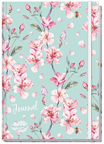 Bullet Journal dotted A5 mit Gummiband [Floral] von Trendstuff by Häfft | Notizbuch, Tagebuch - stilvoll, robust, biegsam, abwischbares Cover