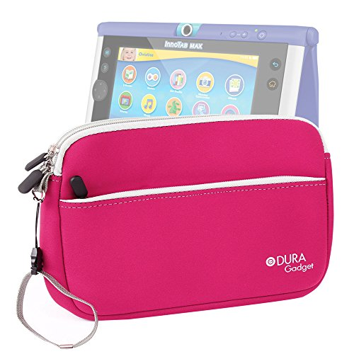 duragadget-hot-pink-water-resistant-neoprene-zip-carry-case-with-front-pocket-for-vtech-innotab-max-