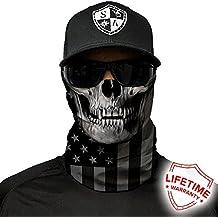 Pañuelo/bufanda/buff de protección del rostro, de la marca SA Company, gorro multiusosSPF 40(para practicar la pesca, caza, para correr, hacer ciclismo, andar en motocicleta, caminar, montar a caballo, etc.)., Black out flag skull, Fits everyone