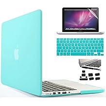 i-Buy Mate Caso de Shell duro + cubierta del teclado + Protector de pantalla + enchufe del polvo para Apple Macbook Pro 15 pulgadas con Retina Display(Modelo A1398)- Ciano