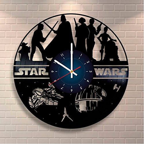 World Clock Gift Kylo Ren Star Wars Vinyl Record Uhr Home Design Raum Art Decor Handgefertigt Geschenk für Sie und Ihn (Unterzeichnet Schal)