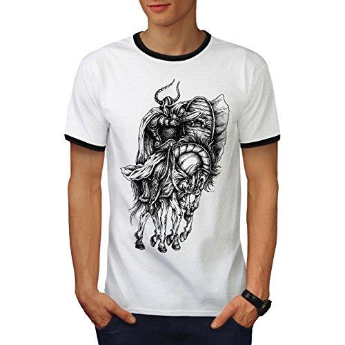 Alt Krieger Pferd Sport Herren S Ringer T-shirt | Wellcoda (Ringer T-shirt Rallye)