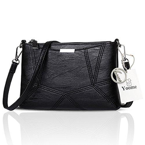 Yoome Retro Multilayer Große Kapazität Soft Flap Taschen Für Frauen Strap Bags Messenger Bag Aktenkoffer - Navy Schwarz