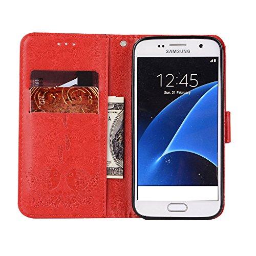 Custodia Galaxy S6 Edge, ISAKEN Cover per Samsung Galaxy S6 Edge, Galaxy S6 Edge Flip Cover con Strap, Elegante 2 in 1 Custodia in Sintetica Ecopelle Sbalzato PU Pelle Protettiva Portafoglio Case Cove Uccelli: rossa