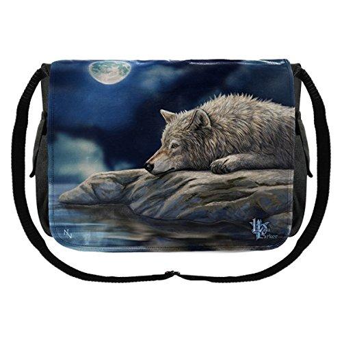 Preisvergleich Produktbild Dark Dreams Wolf Mond Gothic Messenger Bag Tasche Umhängetasche Wolf Quiet Reflection