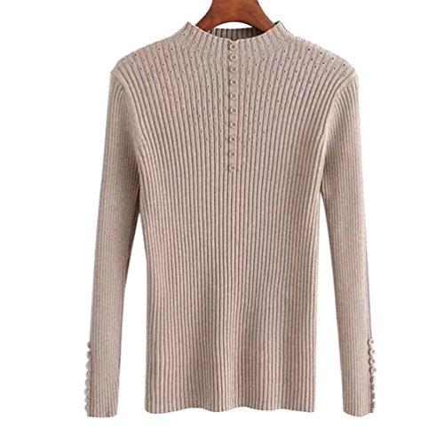 Sentao Donna Eleganti Maglione Invernali Pullover Manica Lunga Maglia Camicetta Silm Fit Blusa Tunica Sweater Top Beige