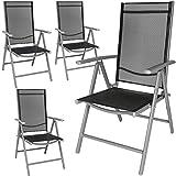 TecTake Lot de aluminium chaises de jardin pliante avec accoudoir - diverses couleurs et quantités au choix - (Gris | 4 chaises | no. 401632)