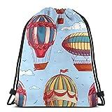 best gift Comic Hot Air Balloon Drawstring Bags Gym Bag Backpack Shoulder Sackpack 16.9x14 inch