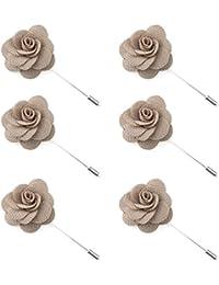 TopTie hombres de flores de solapa Pin rosa para boda boutonniere Stick (Pack de 6)