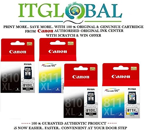 Canon Combo Ink Cartridge Black & Color ( PG 810 XLTwin & CL 811 XL Twin ) [Set of 4 Cartridge] -Special ITGLOBAL Combo With Scratch & Win Offer 810xl 811xl  available at amazon for Rs.7927