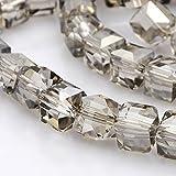 nbeads 1Strang Hälfte vergoldet klar Glas facettiert Würfel Perlen, versilbert, 6x 6x 6mm, Loch: 1mm, über 100/Strang, 56,9cm