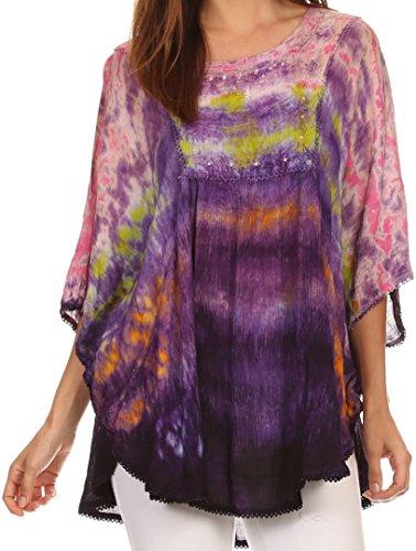 6 Damen Designer Bluse (Sakkas 15031 - Lepha Lange Weit Bunt Abbindebatik Sequin gesticktes Poncho Spitzenbluse - Pink - OS)