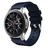 MBrisk Reloj Samsung Galaxy Watch de 22 mm Compatible (42 mm / 46 mm), Correa de Repuesto Deportiva de Silicona Suave Ajustable de 20 mm (46mm, Azul Medianoche)