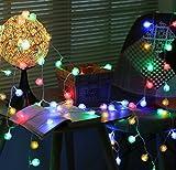 Ghope 30er LED Lichterkette in Bunt Partylichterkette als Dekoration für außen innen,Weihnachten Party und Garten Beleuchtung in Kugelform Batteriebetrieben