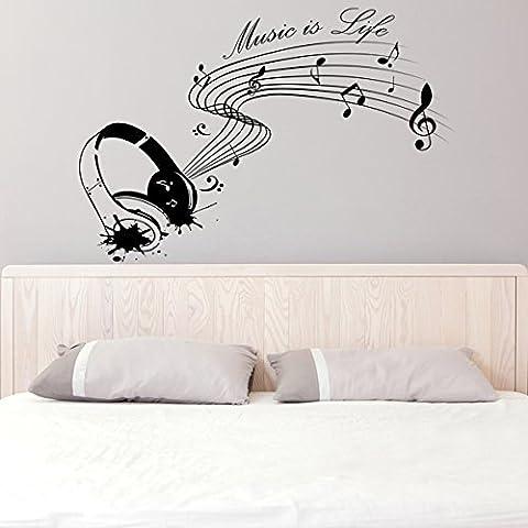 Vinilo de pared (90 x 61 cm) con texto en inglés de Vinilo Music is life con auriculares/Inspiration diseño de raquetas de para artista, músicos y cantantes lámina de decoración de vinilo/Home DIY de tela + adhesivo de vinilo al azar incluye caja de