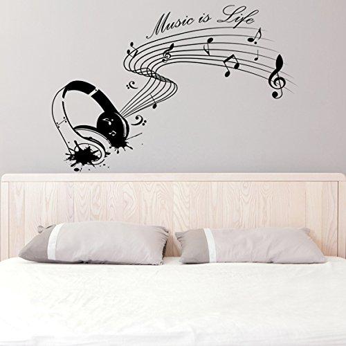 Vinilo de pared (90 x 61 cm) con texto en inglés de Vinilo Music is life con auriculares/Inspiration diseño de raquetas de para artista, músicos y cantantes lámina de decoración de vinilo/Home DIY de tela + adhesivo de vinilo al azar incluye caja de regalo