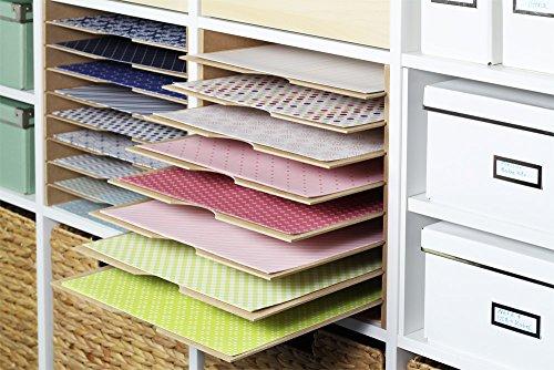 Ikea Kallax Expedit Regal Einsatz Ablage Papierfach Papierregal Postfach Sortierfach Scrapbooking Papier Fach Aufbewahrung Dokumentenablage Fachteiler für 9 Einzelfächer 33,5 x 33,5 x 38 cm Holz Natur MDF