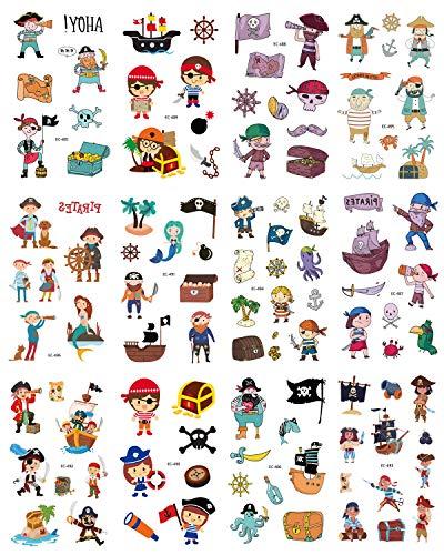 12 Blatt Cartoon Kinder Mädchen und Jungen Temporäre Tattoos Piratenkapitän Schatzkiste Fake Tattoos Aufkleber Fun Lasting Safe Waterproof