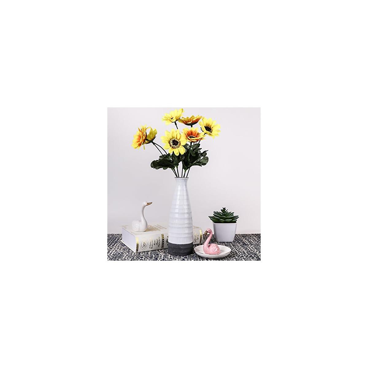 51cyJHGu2WL. SS1200  - TERESA'S COLLECTIONS Florero Jarrón de Cerámica para Flores,Hecho a Mano Estilo Moderno del Cilindro para la Decoración de Hogar (20cm de Altura, Gris y Blanco)