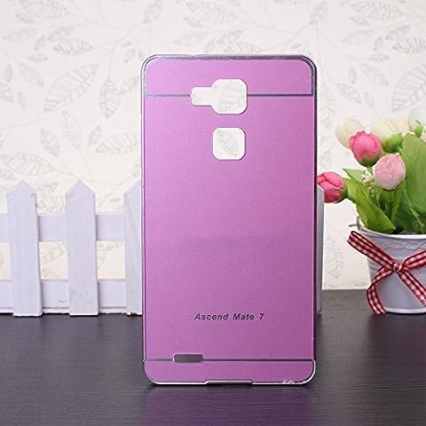 EKINHUI Huawei Mate 7 Coque; Luxe M¨¦tal Aluminium Bumper Coque d¨¦tachables + Hard Back 2 en 1 Ultra Cover chassis mince pour Huawei Mate 7(Pink)