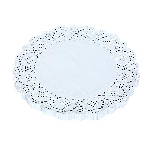 Trainingsunterlagen für 16,5cm weiß rund Einweg Papier Spitze Deckchen Kuchen Tisch-Sets backen Tisch Dekoration, 9.5inches