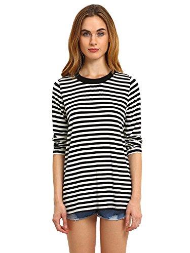 ROMWE Damen Ringel Langarmshirt Baumwoll Streifen Gestreift Hundhals Shirt Top Schwarz XS