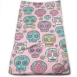"""Hectwya Calaveras de azúcar en toalla de mano de algodón rosa (11.8"""" x 27.5"""") - Altamente absorbente"""