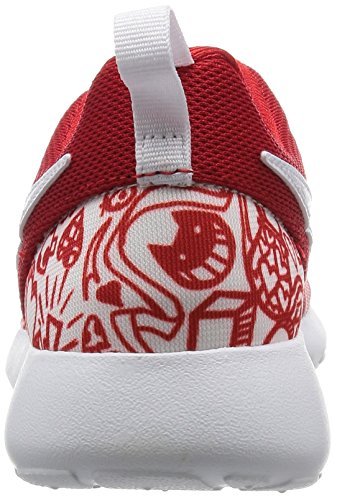 Nike Roshe One Print (Gs), gymnastique fille Rosso (University Red/Blanc-Noir)