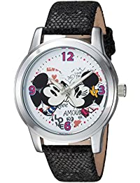 Disney Women's 'Mickey Mouse' Quartz Metal Casual Watch, Color:Black (Model: WDS000346)