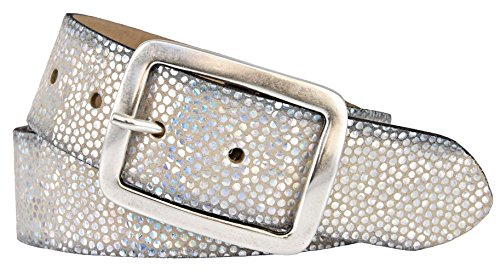 Vanzetti Damen Leder Gürtel Rindleder Damengürtel silber metallic 40 mm mit Airbrushkanten (80 cm)