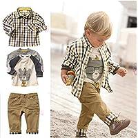 Sopo Toddler Bambini Casual 3pezzi plaid (maglietta + camicia + pantaloni cachi) 1–5y