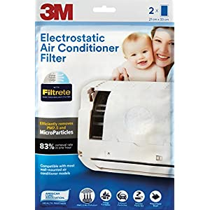 3M Filtrete Non-Woven Fiber Electrostatic Air Purifying Filter for Split ACs (White, 2 packs)