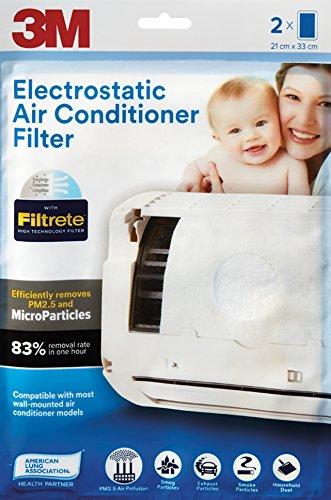 3M Non-Woven Fiber Electrostatic Air Purifying Filter for Split ACS (White, 2 Pieces)