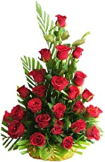 IMPRESSIVE BOUQUET One Sided Basket Bouquet with Green Fillers & Ferns (20 Red Rose)