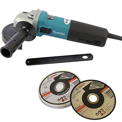 Preisvergleich Produktbild Makita Winkelschleifer 9565HRZ 125mm 1100 Watt + Bosch Trennscheibe INOX 125x1mm 10 Stück in der Dose