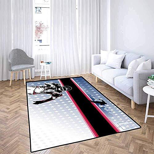 LAURE Floor Mat Americana Decor Baseball Jugador fútbol