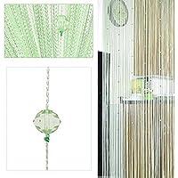 HTOYES Cortina de hilos con cuentas decorativas de, para puertas, pared, ventanas, divisor de habitaciones, cafeterías, etc (Verde)