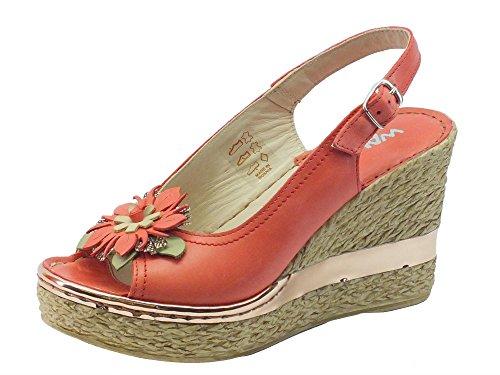 Sandalo Melluso Walk per donna in pelle corallo con zeppa alta effetto vimini Corallo