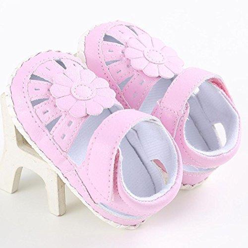 Clode® Bébé fille en cuir chaussure anti-dérapant mou seul bambin (6~12 mois, Jaune) rose