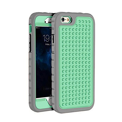 iPhone 6 Hülle,iPhone 6S Hülle,Lantier 3 in 1 Combo Einzigartige Anti-Rutsch Textur Shockproof Rugged Rüstung Schutzhülle für iPhone 6 /6S 4.7 inch Schwarz+Silber Grey+Mint Green
