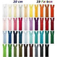 Jajasio Lot de 39fermetures Éclair Différents coloris 30cm